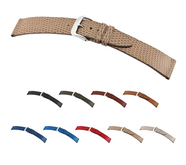 """RIOS1931 Genuine Lizard Watch Band """"Charme"""", 16-20 mm, 9 colors, new!"""