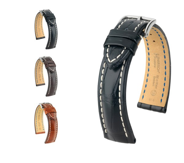 "HIRSCH Louisiana Alligator Watch Band ""Capitano"", 18-24 mm, 3 colors, new!"