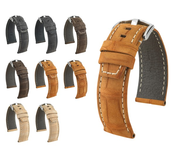 "HIRSCH Selection Nubuck Alligator Watch Band ""Tritone"", 22-24 mm, 4 colors, new!"
