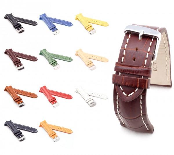 "BOB Uhrenarmband Alligator Style, Modell ""Chrono"", 18-24 mm, 11 Farben, neu!"
