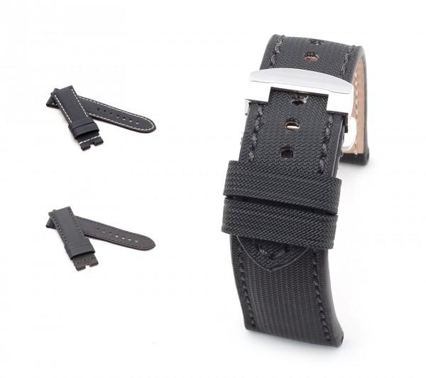 BOB Faltschließband Marino Nytech kompatibel Panerai, 24/22 mm, schwarz, neu!