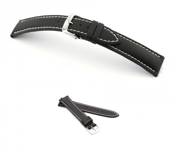 "RIOS1931 Rubber Cow Watch Band, Model ""Polo"", 18-22 mm, black, new!"