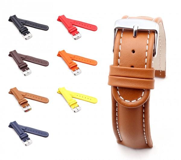 "BOB Calfskin Watch Band, Model ""Retro"", 18-24 mm, 7 colors, new!"