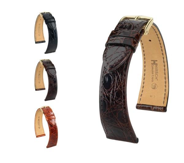 "HIRSCH XS Genuine Crocodile Watch Band ""Genuine Croco"", 12-18 mm, 3 colors, new!"
