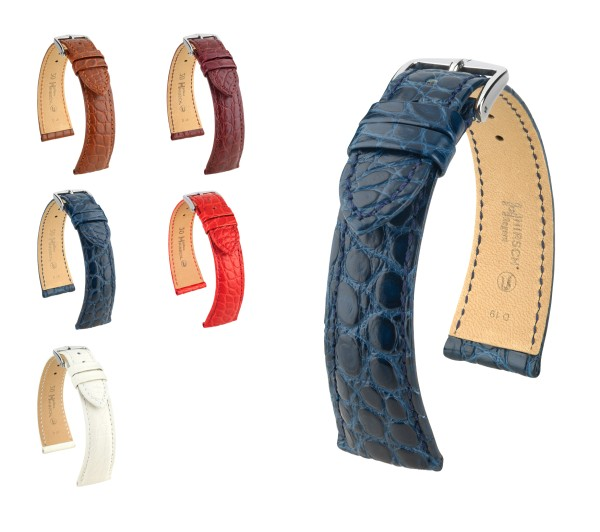 "HIRSCH XS Selection Uhrenarmband Louisiana Alligator ""Regent"", 16-20 mm, 5 Farben, neu!"