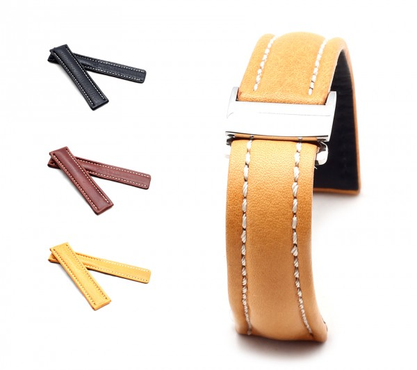 BOB Vintage Calfskin Deployment Strap for Breitling, 20-24 mm, 3 colors, new!