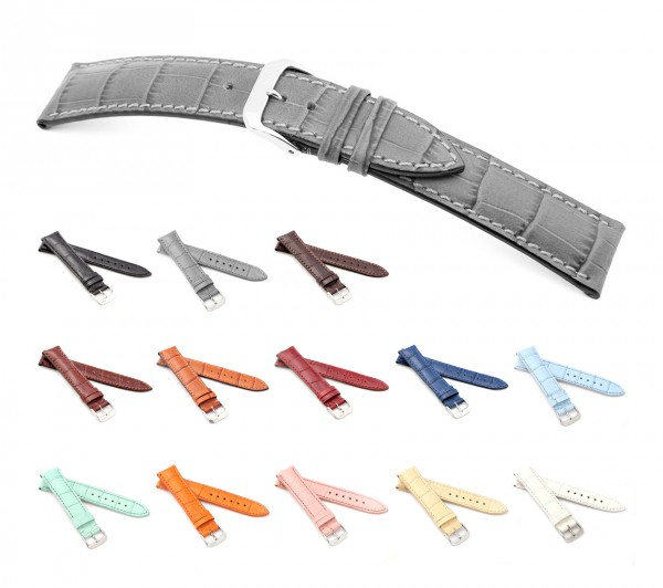 "RIOS1931 Alligator Style Watch Band ""Louisiana"", 18-22 mm, 13 colors, new!"