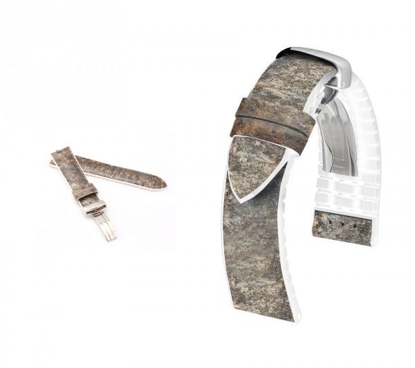 "HIRSCH Performance Uhrenarmband | Modell ""Stone"" | 18-20 mm | grau/weiß | M | neu |"