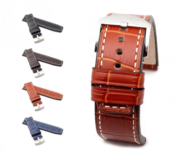 "BOB Marino Alligator Watch Band, Model ""Firenze"", 24/24 mm, 4 color, new!"