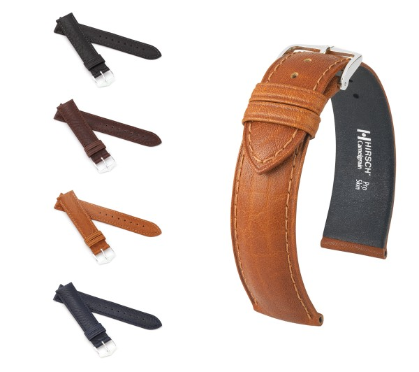"HIRSCH Pro Skin Watch Band ""Camelgrain"", 14-22 mm, 4 colors, new!"