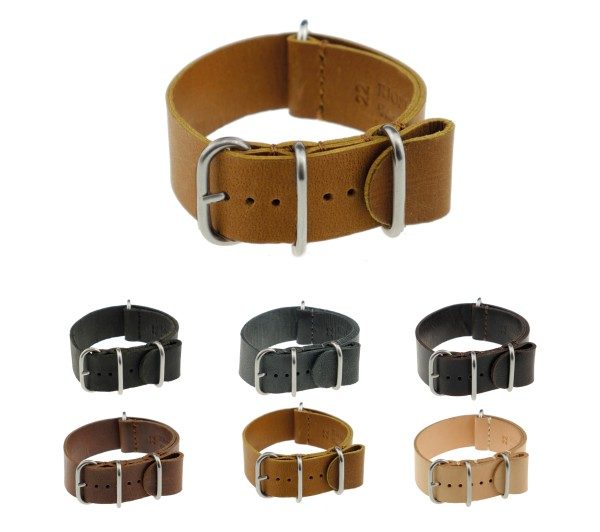 """RIOS1931 Vintage Leather Nato Watch Band """"Luxembourg"""", 18-24 mm, 6 colors, new!"""