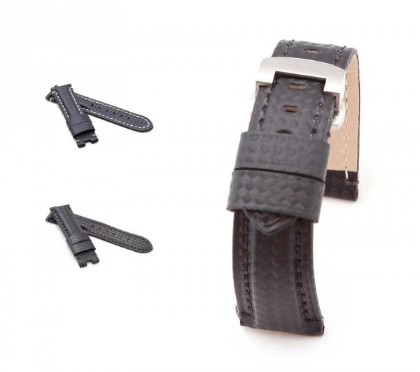 BOB Faltschließband Karbon Style kompatibel Panerai, 22/20 mm, schwarz, neu!