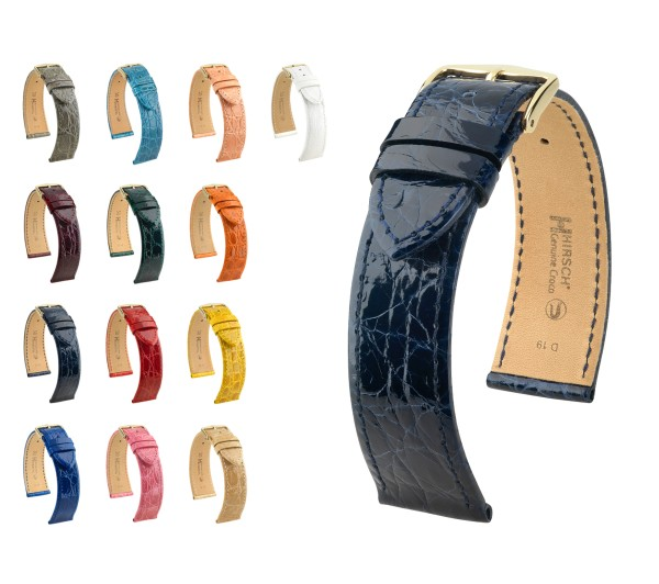 "HIRSCH Selection Genuine Crocodile Watch Band ""Genuine Croco"", 17-22 mm, 13 colors, new!"