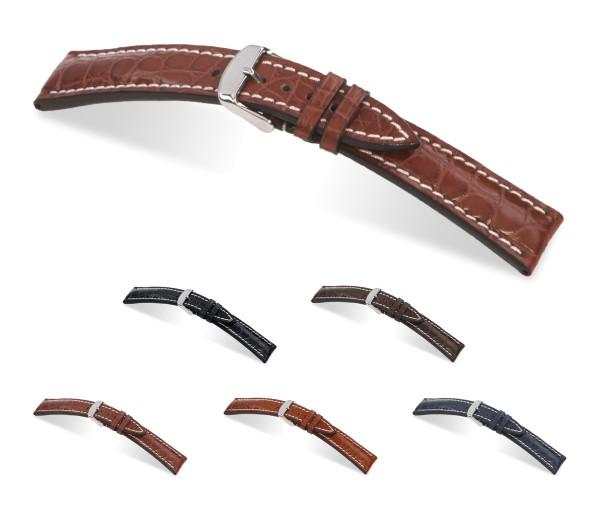 "RIOS1931 Uhrenarmband Echt Alligator ""Ambassador"", 18-22 mm, 5 Farben, neu!"