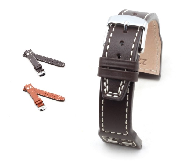 "BOB Marino Calf Watch Band, Model ""Aviation"", 20-22 mm, 2 colors, new!"