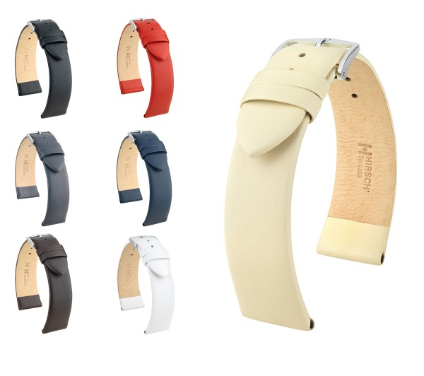 """HIRSCH Italian Calfskin Watch Band """"Toronto"""", 10-30 mm, 7 colors, new!"""