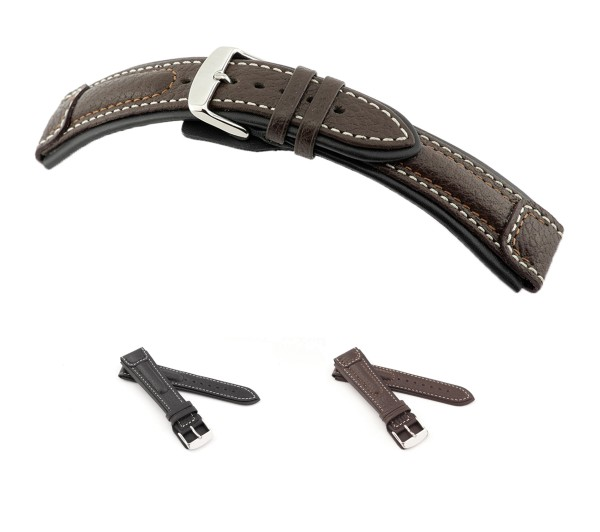 "RIOS1931 Buffalo Leather Watch Band ""Performance"", 20-24 mm, 2 colors, new!"