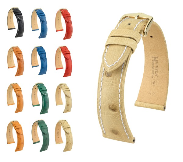 "HIRSCH XS Selection Ostrich Leather Watch Band ""Massai"", 14-17 mm, 7 colors, new!"
