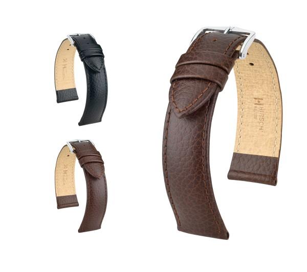 "HIRSCH XL Uhrenarmband Büffel Style ""Kansas"", 18-22 mm, 2 Farben, neu!"