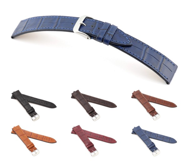 "RIOS1931 XS Alligator Style Watch Band ""Baltimore"", 18-19 mm, 6 colors, new!"