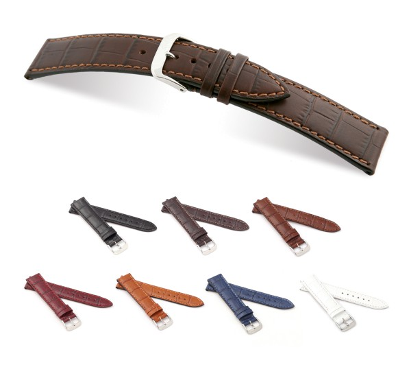 """RIOS1931 Alligator Style Watch Band """"Orlando"""", 16-22 mm, 7 colors, new!"""