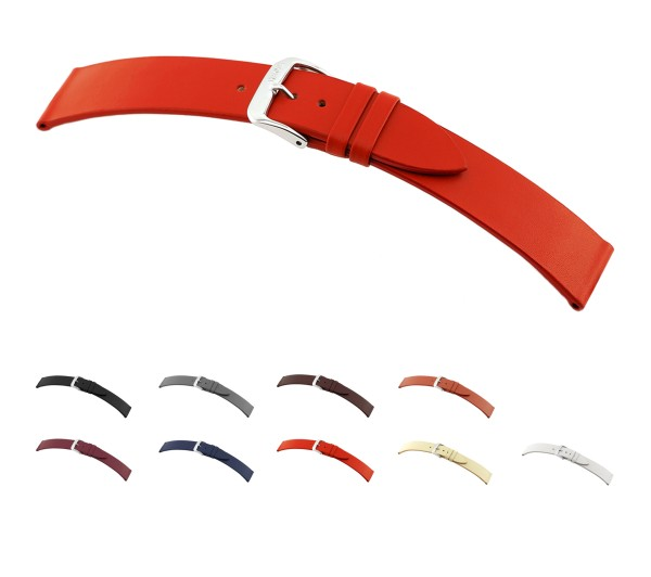 """RIOS1931 Cowhide Watch Band """"Elegant"""", 16-20 mm, 9 colors, new!"""