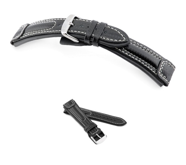"RIOS1931 Carbon Style Watch Band ""Silverstone"", 20-24 mm, black, new!"
