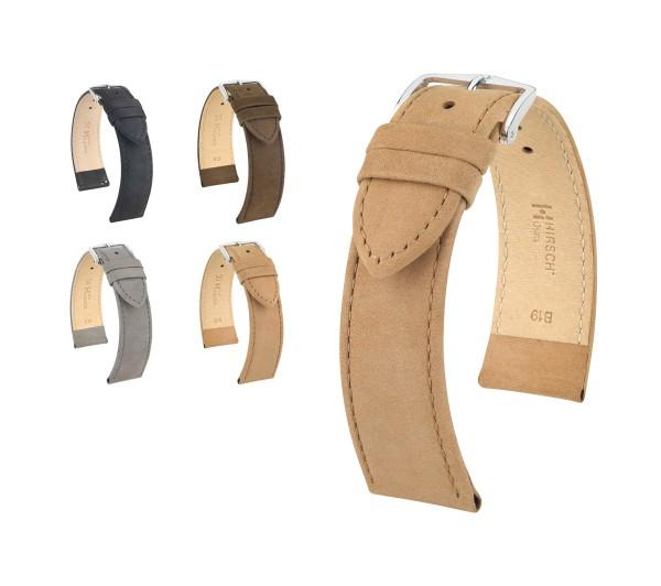 "HIRSCH XS Nubuck Leather Watch Band ""Osiris"", 16-20 mm, 4 colors, new!"