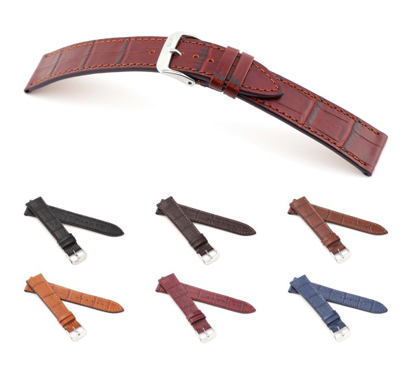 "RIOS1931 Alligator Style Watch Band ""Baltimore"", 17-20 mm, 6 colors, new!"