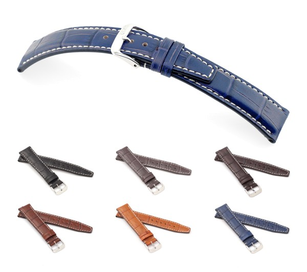 """RIOS1931 Alligator Style Watch Band """"Boston"""", 18-22 mm, 6 colors, new!"""
