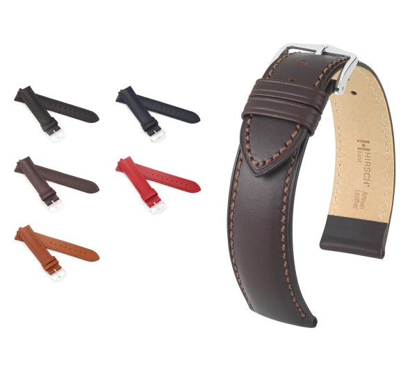 "HIRSCH Italian Calfskin Watch Band ""Kent"", 18-22 mm, 5 colors, new!"