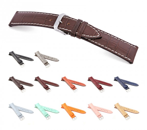 "RIOS1931 Alligator Style Watch Band ""New Orleans"", 16-22 mm, 12 colors, new!"