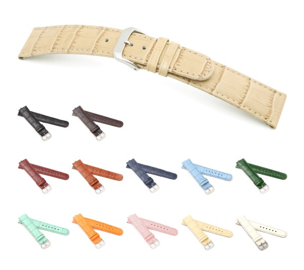 "RIOS1931 XS Alligator Style Watch Band ""Argentina"", 12-20 mm, 12 colors, new!"