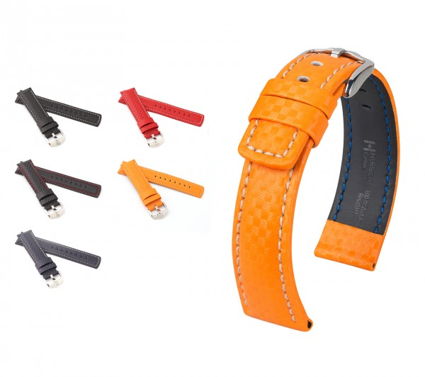 "HIRSCH Carbon Style Watch Band ""Carbon"", 18-24 mm, 4 colors, new!"