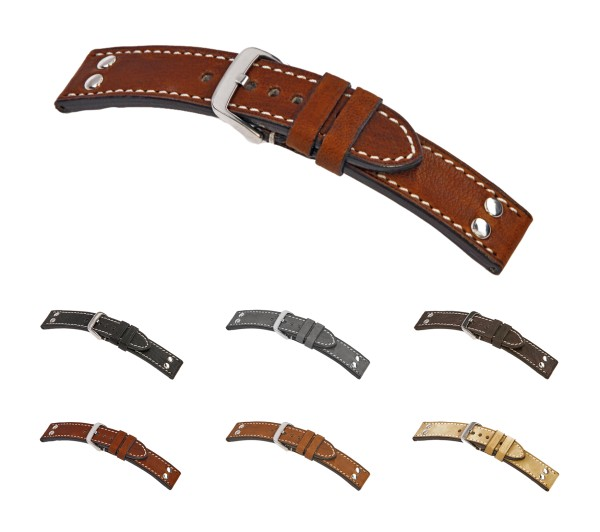 "RIOS1931 Vintage Leather Watch Band ""Chesterfield"", 22-24 mm, 6 colors, new!"