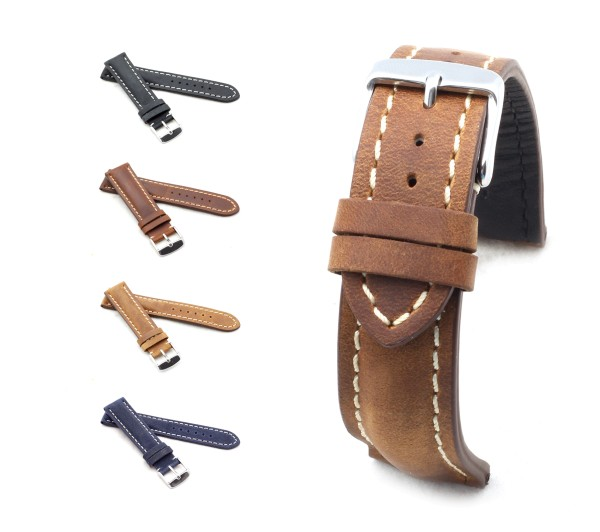 """BOB Genuine Suede Watch Band, Model """"Chrono"""", 18-22 mm, 4 colors, new!"""