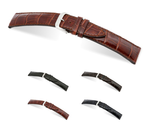 """RIOS1931 Genuine Alligator Watch Band """"Windsor"""", 18-22 mm, 4 colors, new!"""