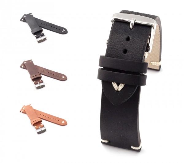 "BOB Uhrenarmband Kalbsleder, Modell ""Vintego"", 18-24 mm, 3 Farben, neu!"