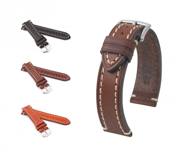 "HIRSCH Saddle Leather Watch Band ""Liberty"", 18-24 mm, 3 colors, new!"