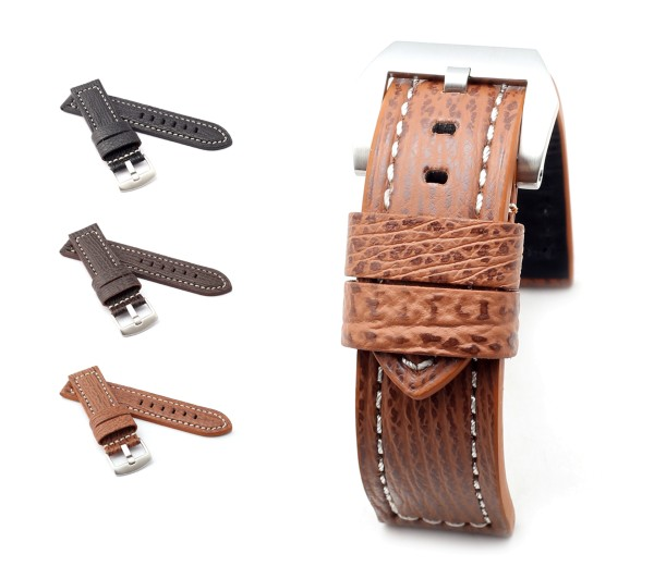 "BOB Genuine Shark Watch Band, Model ""Firenze"", 22/22 mm, 3 colors, new!"