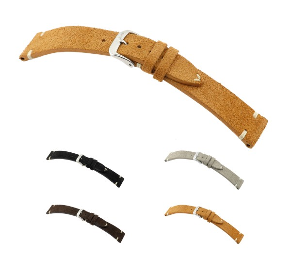 """RIOS1931 Genuine Suede Watch Band """"Hudson"""", 18-22 mm, 4 colors, new!"""
