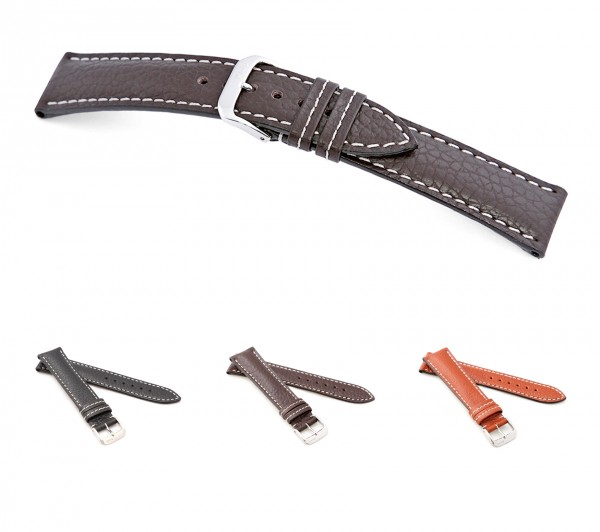 "RIOS1931 Buffalo Leather Watch Band ""Montana"", 18-22 mm, 3 colors, new!"