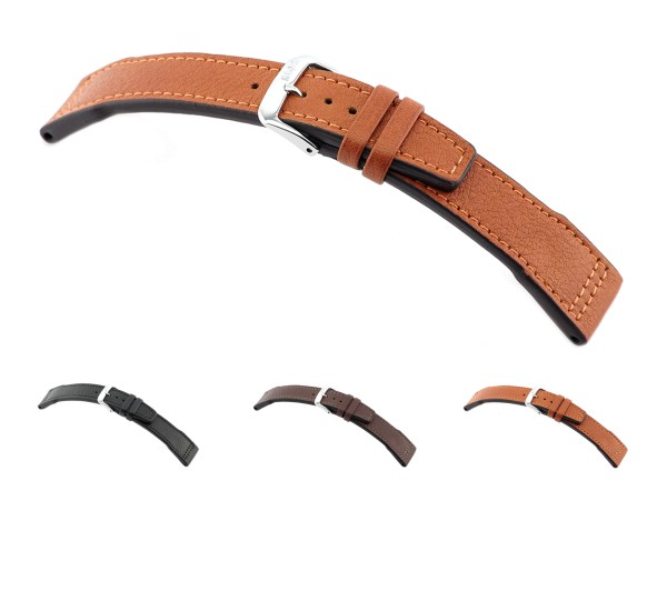 """RIOS1931 Organic Leather Watch Band """"Landsberg"""", 20-22 mm, 3 colors, new!"""