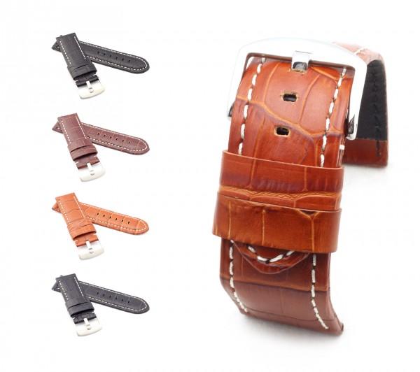 "BOB Alligator Style Watch Band, Model ""Firenze"", 26/26 mm, 4 colors, new!"