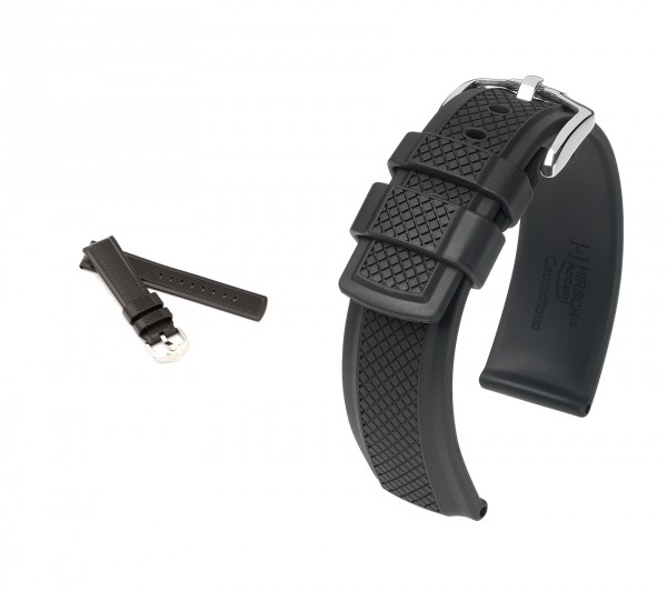 "HIRSCH Caoutchouc Watch Band ""Accent"", 20-24 mm, black, new!"
