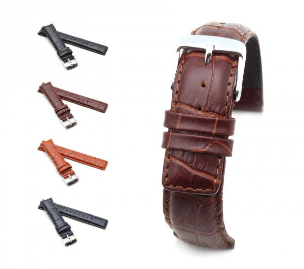 "BOB Alligator Style Watch Band, Model ""Classic"", 20-22 mm, 4 colors, new!"