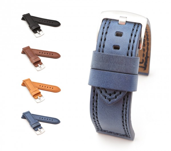 "BOB Cowhide Watch Band, Model ""Mare"", 20-26 mm, 4 colors, new!"