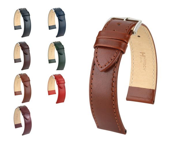 "HIRSCH XS Box Leather Watch Band ""Osiris"", 12-20 mm, 7 colors, new!"