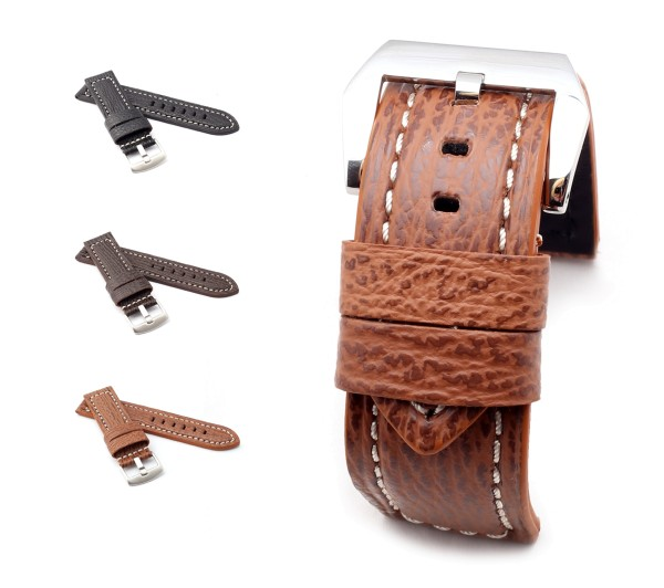 "BOB Shark Leather Watch Band, Model ""Firenze"", 24/24 mm, 3 colors, new!"