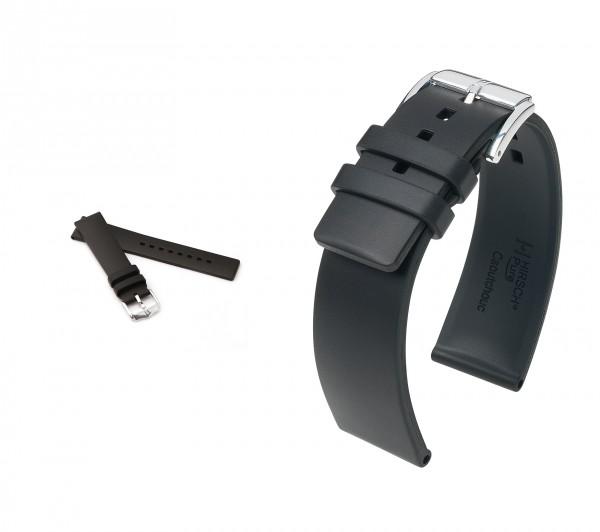 "HIRSCH XL Caoutchouc Watch Band ""Pure"", 18-20 mm, black, new!"